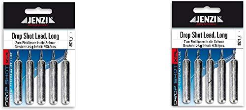 Jenzi Set: 2 Packungen Drop-Shot Blei Bleigewichte Long, 25 Gramm +gratis Petri Heil! Aufkleber