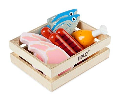 Tidlo T-0104 - Küchenspielzeug - Holz Fleisch- und Fischset