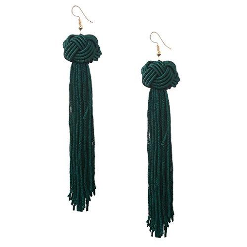 Milageto Pendientes de Borla Vintage Pendiente Largo Colgante para Mujer Borla Roja Blanca Verde - Verde, Individual