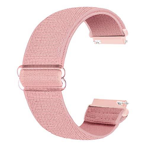 Ecogbd 20mm Correa de repuesto elástica compatible con Galaxy Watch Active / Active2 40 mm 44 mm / Garmin Vivoactive3, correas de nailon de tela suave para mujeres y hombres (Rosa claro)