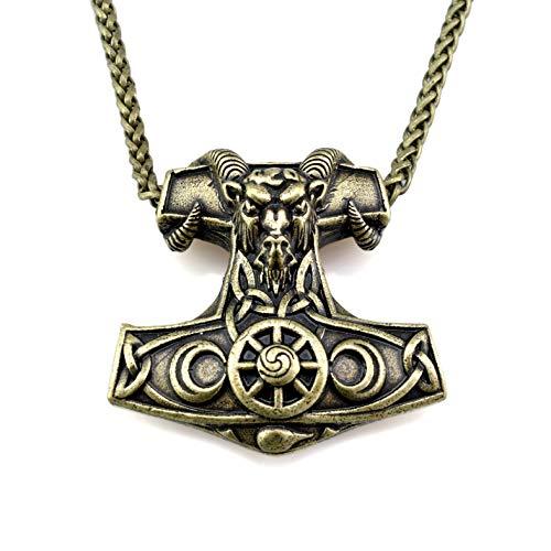URBANTIMBER Massive Wikinger Halskette Thor\'s Hammer mit Widder & Futhark Runen - Silber oder Bronze/Gold