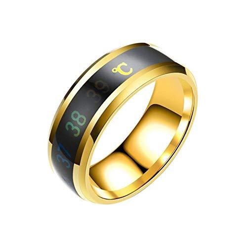 AZLMJXH Smart Ring, Waterdichte Temperatuur Sensing Ring Armband Smart Smart Ring Vinger Draag Variabele Kleur Temperatuur Ring Grootte-Goud No. 12