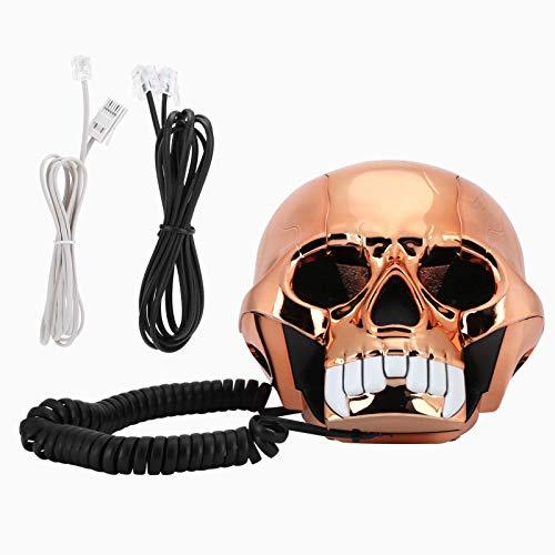 Teléfono con Cable de Escritorio Botón Antiguo Marcación Fija Teléfono Fijo Innovador Divertido Halloween Halloween Teléfono con luz LED para el hogar/decoración del hogar