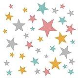 Little Deco DL406 - Adhesivo decorativo para pared, diseño de estrellas, 60 estrellas, color menta, amarillo y rosa