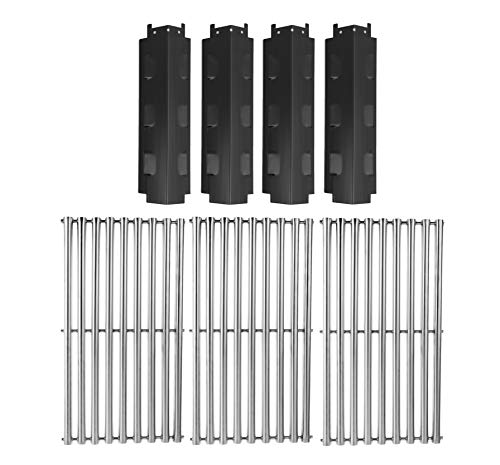 Replace parts 3 Pack Stainless Steel Cooking Grid and 4-Pack Porcelain Steel Heat Plate Replacement for Select Gas Grill Models for Charbroil, Kenmore and Others