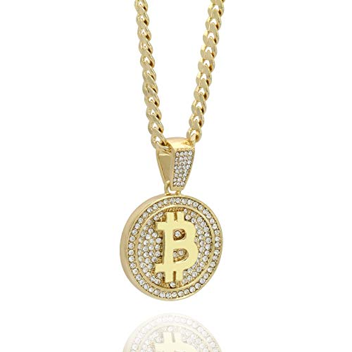 Mens 14k Gold Plated Hip Hop Bitcoin Fully Cz Pendant 6mm 30