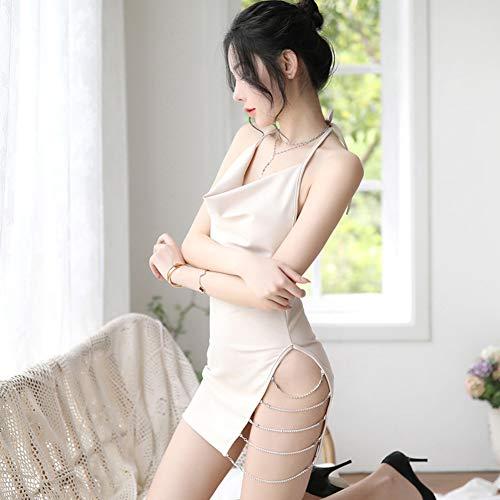 Achicoo Dames Sexy strass ketting halster rugvrij jurk van kant slim, Taille libre, Kleur: zwart/bruin,