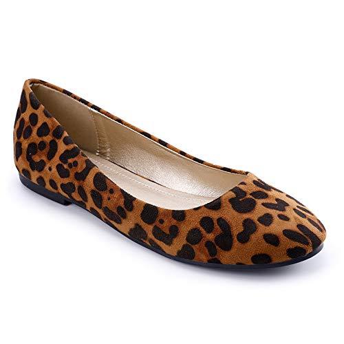 Trary Damen Runde Zehen Ballerinas Schuhe, Mehrere (leopard), 37 EU