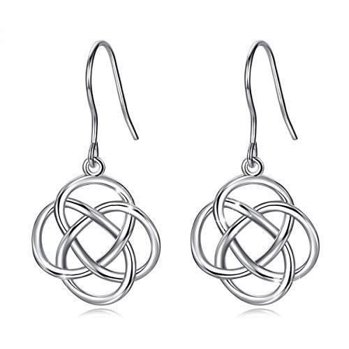 INFUSEU 925 Sterling Silver Irish Celtic Knot Drop Dangle Hook Earrings for Women (Eternity Flower)