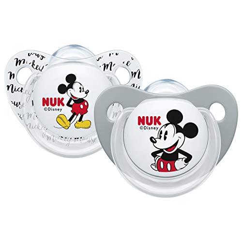 NUK Succhietti Disney Mickey in silicone 0-6 mesi, 2 pezzi, colori assortiti