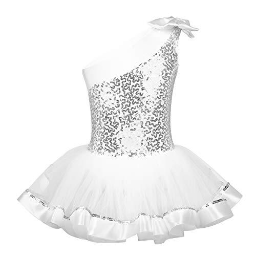TiaoBug Tutú Maillots Ballet para Niñas Vestido de Danza Gimnasia con Lentejuelas Brillantes Ropa de Ballet Un Hombro de Bowknot Niñas 3-8 Años Blanco 7-8 Años