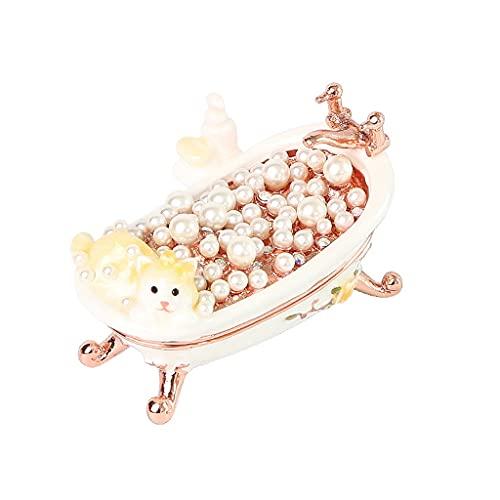 Yousiju Caja de joyería para Anillos Earings Collar Cajas de Almacenamiento Mujeres Joyería Organizador contenedores (Color : White)