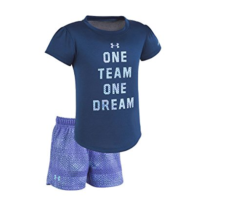Under Armour Baby Girls' Lumos Tee and Shorts 2 Piece Set (24 Months, One_Team_One_Dream (27C12033-41)/Blackout Navy)