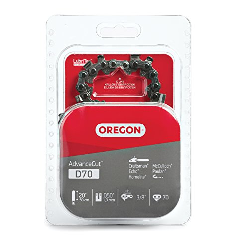 Oregon D70 AdvanceCut Chainsaw Chain for 20-Inch Bar; Fits Echo CS600P, CS-680, CS-550EVL, Poulan 3400, Homelite XL 12 and Super XLAO & More, .050-Inch Gauge, 70 Drive Links