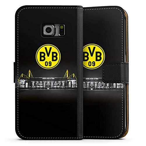 DeinDesign Tasche kompatibel mit Samsung Galaxy S6 Edge Leder Flip Case Ledertasche BVB Stadion Borussia Dortmund