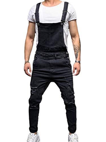 Tomwell Herren Denim Latzhose Arbeit Retro Denim Latzhose Jeans Hose Zerreißen Arbeitshosen Jumpsuit Schwarz Large