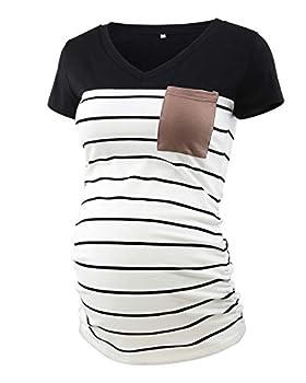 Ecavus Women s Casual Maternity Tops Short & Long Sleeve V Neck Colorblock Pregnancy T-Shirt with Pocket