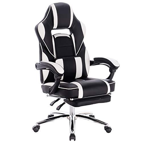 WOLTU Gaming Stuhl Racing Stuhl Bürostuhl Chefsessel Schreibtischstuhl Sportsitz mit Lendenkissen, mit Fußstütze, Kunstleder, höhenverstellbar, Weiß, BS25ws