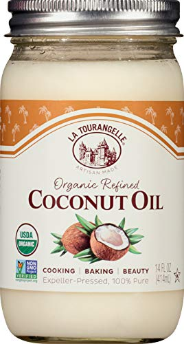 La Tourangelle, Organic Refined Coconut Oil, Great for Cooking, Baking, Hair, and Skin Care, 14 fl oz