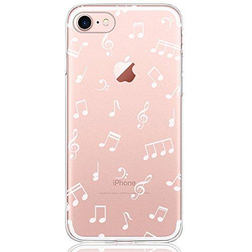 Oveo® Coque iPhone 7 / 8, Série Dolce Vita Housse Etui Silicone Transparente pour Fille/Femme, avec Motif Musique Blanche