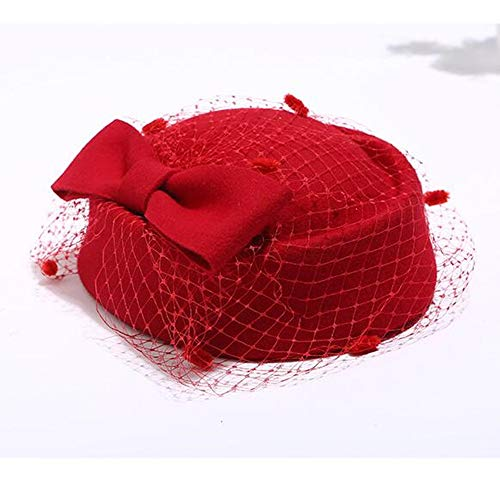 LXQ Pilulier Head Wear Mesdames diadème de mariée Maille Beret Mariage Ocktail Tea Party Bow pour Les Femmes,5