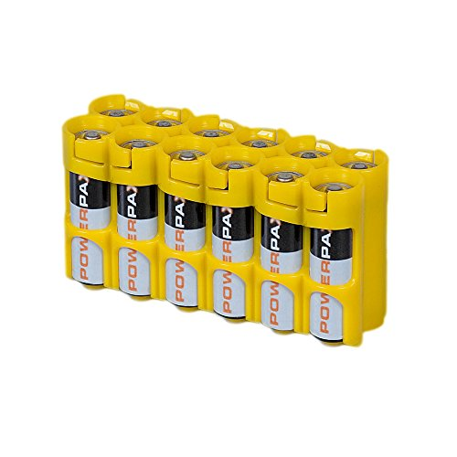 Storacell 12AACY by Powerpax AA Battery Caddy, Yellow, Holds 12 Batteries