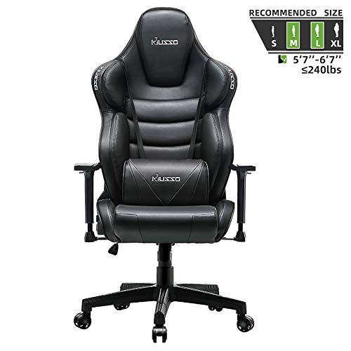 Musso Executive Swivel Office Chair, High-Back Racing Gaming Chair, Ergonomic Adjustable Computer Desk Chair, PU Leather Task Chair with Headrest and Lumbar Support (Black)