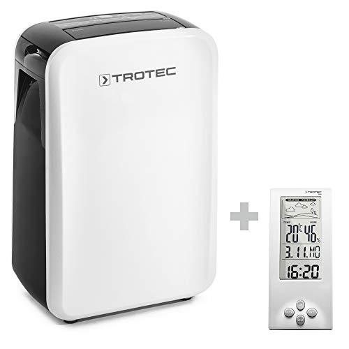 TROTEC Deshumidificador eléctrico TTK 71 E / 24L /Pantalla LED/Desagüe 2L / Silencioso/Portátil/Para Habitaciones de 50m² / 125m³ / Higrostato Automático incluido el BZ06