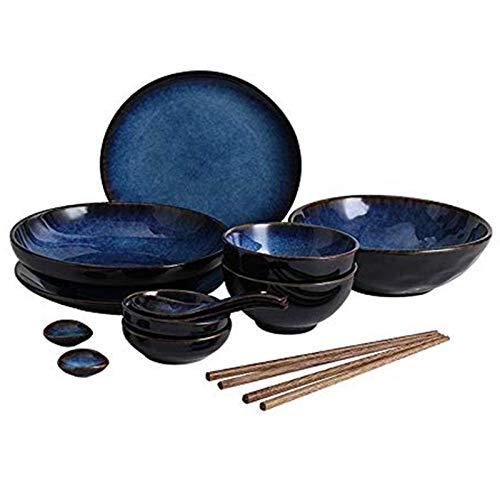 Juego de vajilla de cerámica Azul Retro Tazón de Sopa Grande/tazón de arroz/Plato/Cuchara/Palillos, Juego de vajilla japonés para 2 Personas