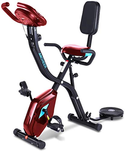 ANCHEER Cyclette F Bike, Bici Pieghevole Fitness 3 in 1, Cyclette Fissa con 10 Livelli di Resistenza Magnetica Regolabile App Monitor Digitale Programma