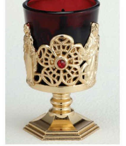 Truefaithgifts Votive Stand 4 Inch Gold Plated Metal with Ruby Glass- Boxed
