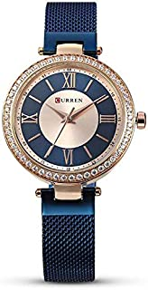 Curren Quartz Movement Round Dial Stainless Steel Strap Waterproof Women Wristwatch - Blue