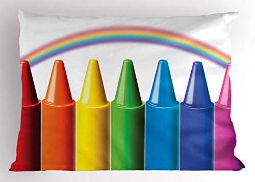Ambesonne Crayon Pillow Sham, Digital Illustration of Colorful Painting Elements and Blurry Rainbow Nursery Themed, Decorative Standard Size Printed Pillowcase, 26' X 20', Green Blue