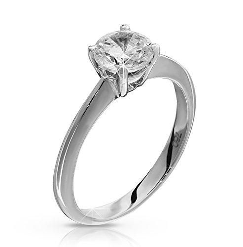 premium quality half carat White gold diamond solitaire engagement ring Size M