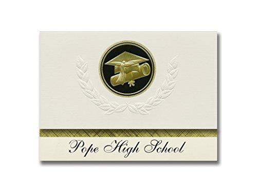 Signature Announcements Ankündigung für Papst High School (Marietta, GA), Abschlussfeier, Jubiläumsstil, Elite-Paket mit 25 Kappen und Diplom-Siegel.