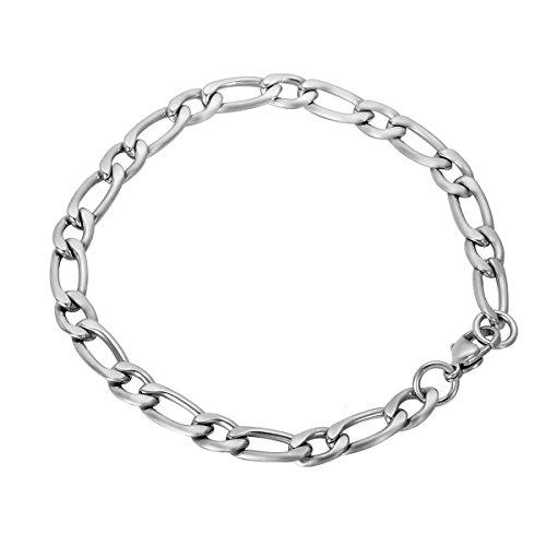 HooAMI roestvrij stalen Figaro ketting armband met kreeft gesp 6mm