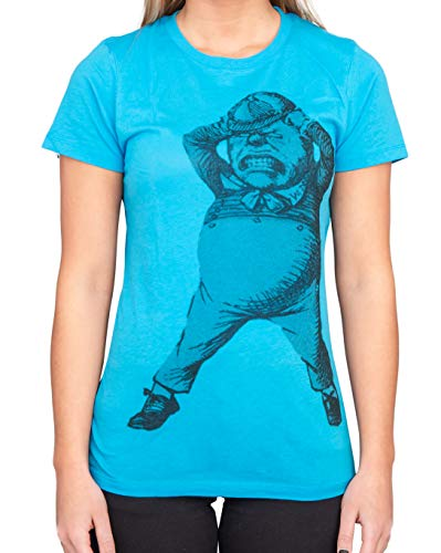Alice au pays des merveilles Tweedle Dee Dum Juniors Turquoise T-shirt Tee - Bleu - Medium
