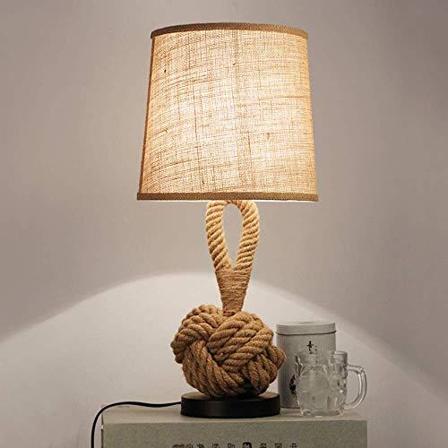 SKYHY224 Lámpara de Escritorio Personalidad Retro Dormitorio Creativo mesita de Noche lámpara de Mesa led cafetería Estudio Tela cá?Amo Cuerda decoración lámpara de Mesa Peque?a