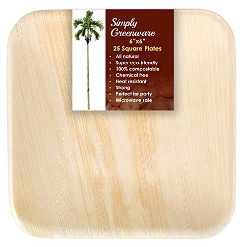 Simply Greenware Palm Leaf Plates 6 Inch | 25 Count | Sturdy & Premium Quality Square Plates | 100% Compostable Disposable & Better than Paper Plates | Salads Appetizer Snacks Weddings Camping Luau !