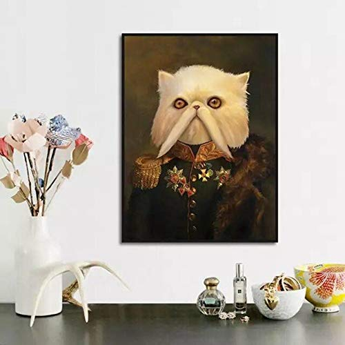 adgkitb canvas Retro-Stil weiße Katze Langen Bart Retro-Kleidung Leinwand Malerei Poster und Drucke Wohnzimmer Dekoration Malerei Wandmalerei E 60x90cm Kein Rahmen