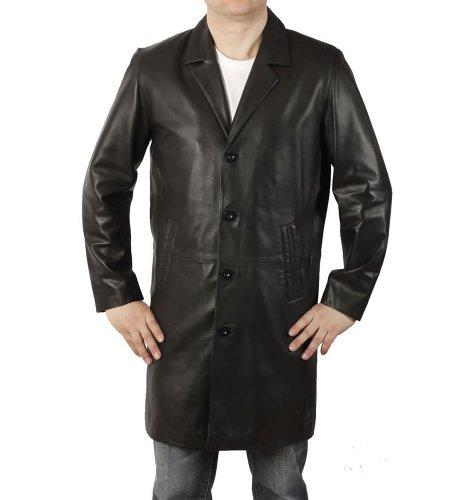 Simons Leather Manteau en cuir noir à revers longueur 7/8 - Taille 2XL