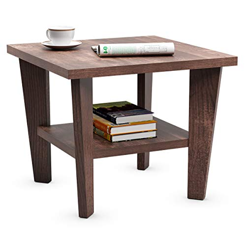 Giantex End Table 2-Tier Rustic Space-Saving Side Table W/Open Storage Shelf and Unique Trapezoidal Legs, Accent Mufti-Functional Small Sofa Coffee Table for Living Room, Bedroom (1, Espresso)