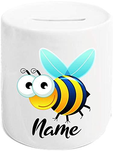 Shirtstown Spardose, Biene Wespe Bee mit Wunschnamen Tiere Tier Natur, Sparschwein Geldgeschenk Geschenk Sparen Kinder Erwachsene Sprüche, Farbe Weiß