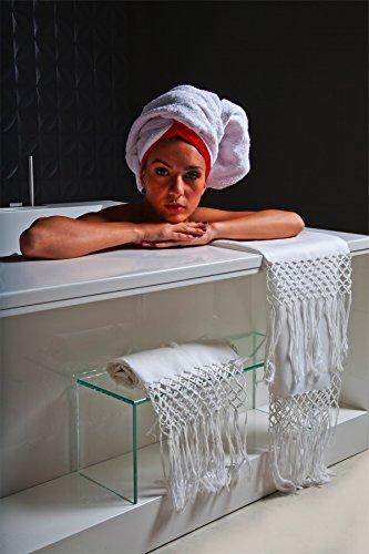 Zenoni&Colombi Serviette de châle 100 % pur lin avec franges nouées à la main, fabriquée en Italie