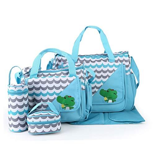 Pingdi - Bolsa de pañales para bebé, diseño de animales de dibujos animados, bolsa impermeable de gran capacidad, bolsa de maternidad, color Azul, talla Talla única