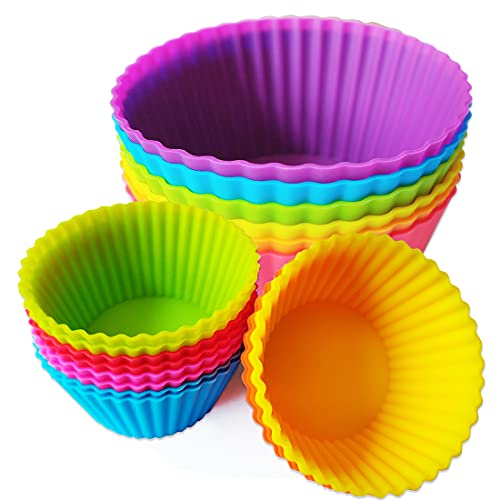 Silicone Baking Cupcake Cups Nonstick 18 Pack Reusable Muffin Liners Jumbo Cake Pastry Molds