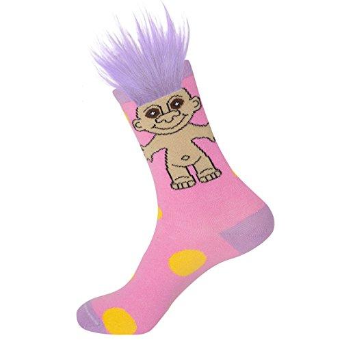 Gumball Poodle Damen-Crew Socken - Good Luck Trolls Rosa Polka-Party (mit echtem Haar!)-(Einheitsgröße)