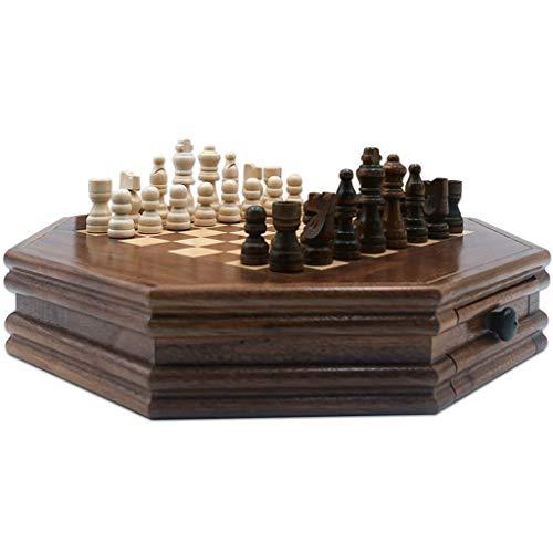 HJHJ ajedrez Creativo Juego De Ajedrez De Madera 12.7x12.7in Juego De Mesa De Ajedrez De Madera Octagonal con Cajones De Almacenamiento Juego De Ajedrez Regalos de ajedrez (Color : Chess Set)