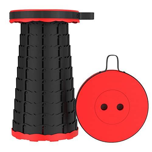 Taburete plegable de viaje, ligero y portátil, telescópico, para camping, pesca, festival, capacidad de carga de 200 kg (rojo)