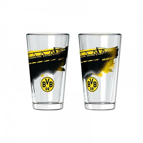 Borussia Dortmund, BVB-Wasserglas mit Südtribüne (2 Stück), Schwarz / Gelb, 0